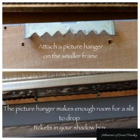 Store your family memorabilia in a DIY ticket shadow box frame