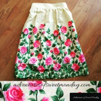 Gathered skirt using fabric with a border