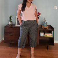 Gingham Cropped Pants- Simplicity 8841