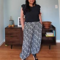 Black and White Floral Harem Pants- Simplicity 8393